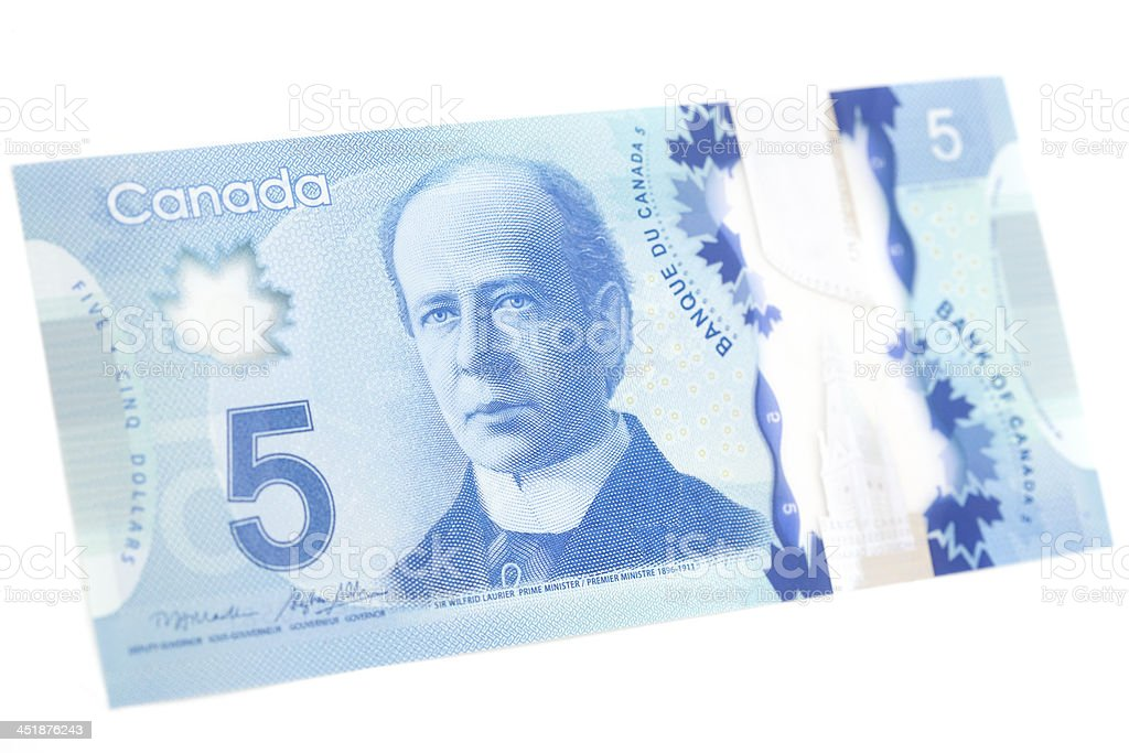 New Polymer Canadian Five Dollar Bill - Front stock photo