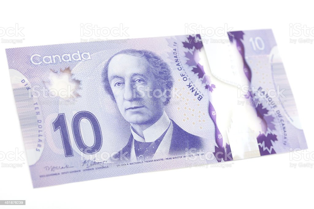 New Polymer Canadian Ten Dollar Bill - Front stock photo