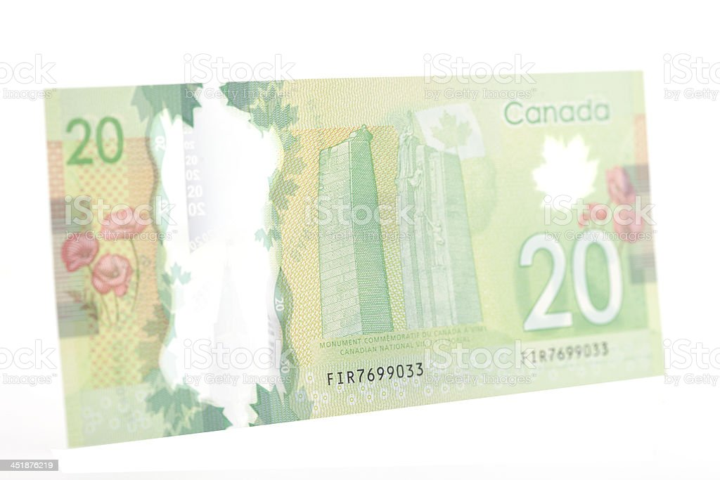New Polymer Canadian Twenty Dollar Bill - Back stock photo