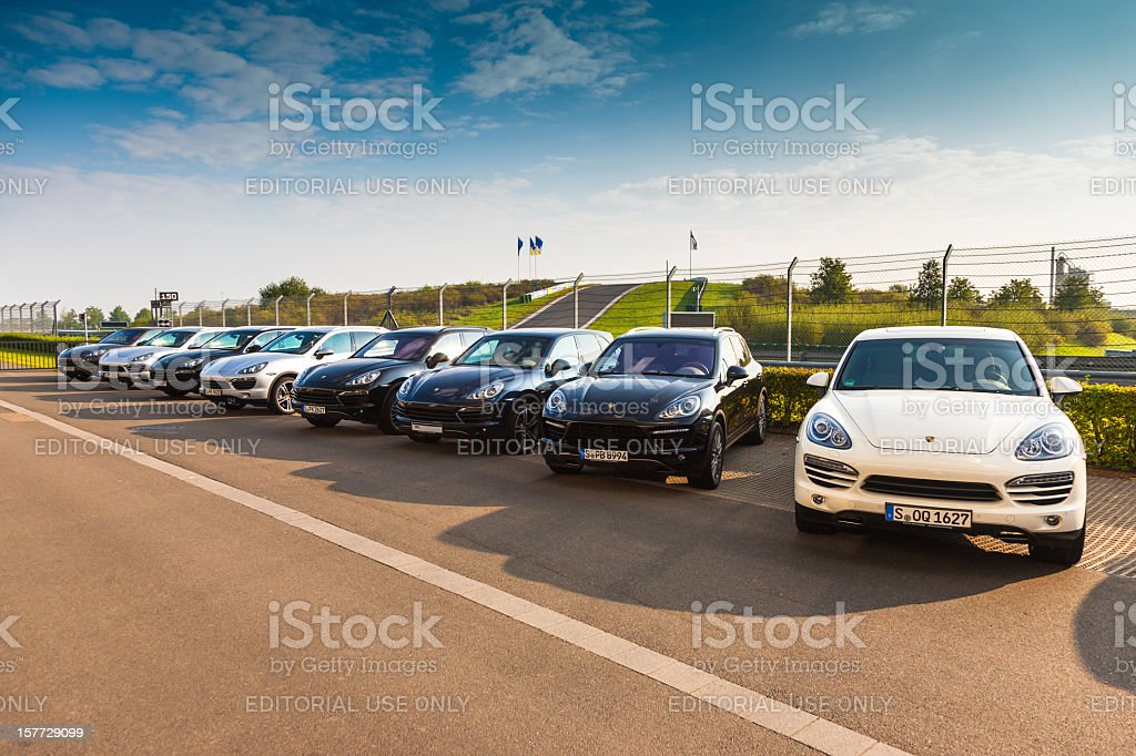 New Porsche Cayenne and Panamera Sports Cars royalty-free stock photo