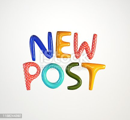 istock New Post as social media announcement. 3d rendering isolated. 1158244392