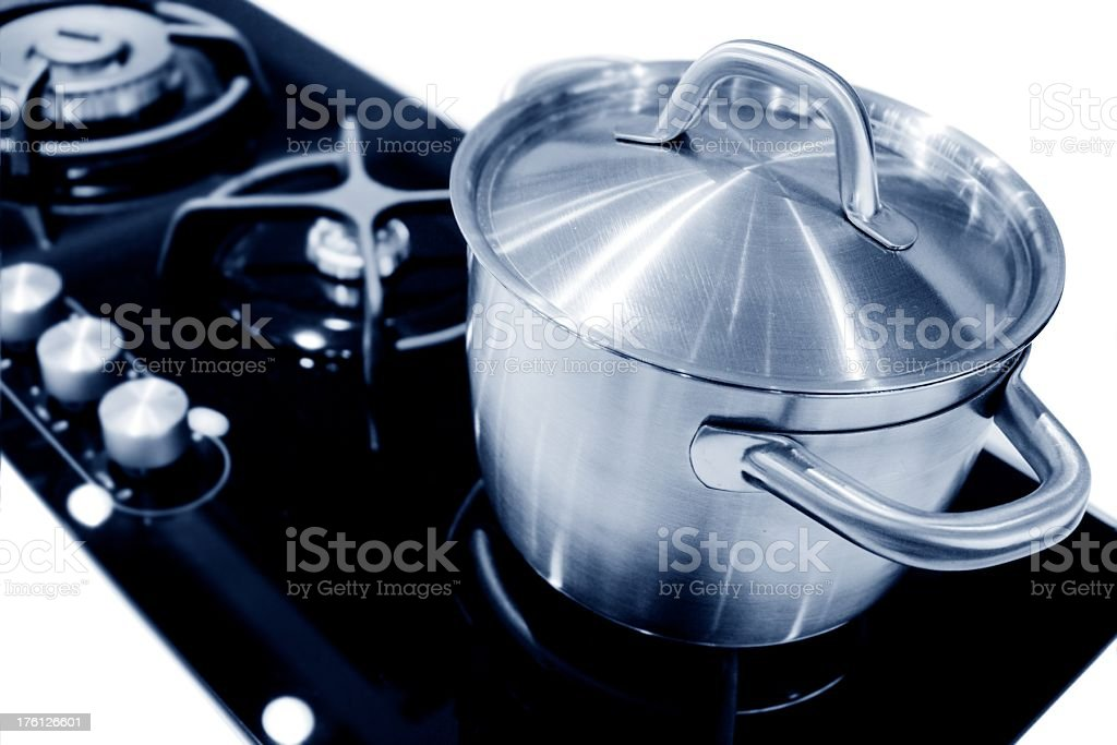new pot on a gas stove stock photo