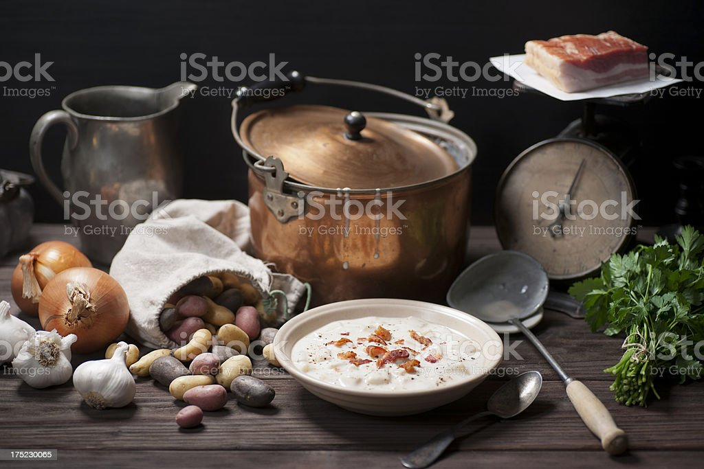 New Potato and Bacon Soup royalty-free stock photo