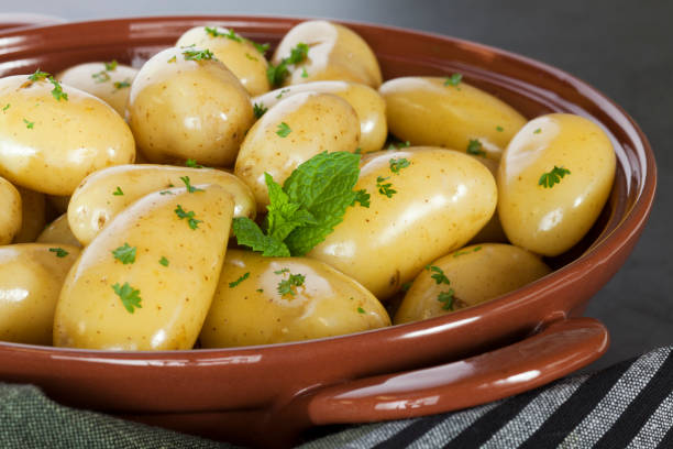 New Potatoes Steamed stock photo