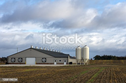A newly constructed single story poultry barn in a rural setting.