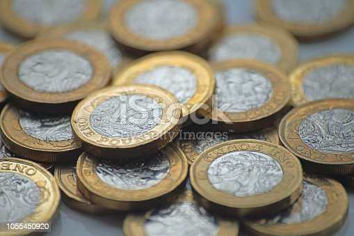 Close up of the new UK pound coin released into circulation 30 Mar 2017.
