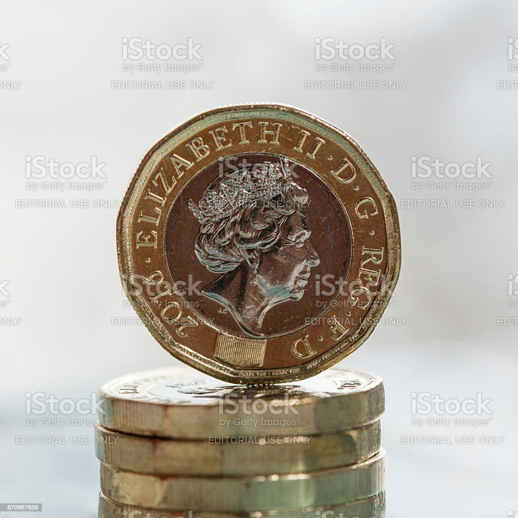 New Pound Coin - UK stock photo