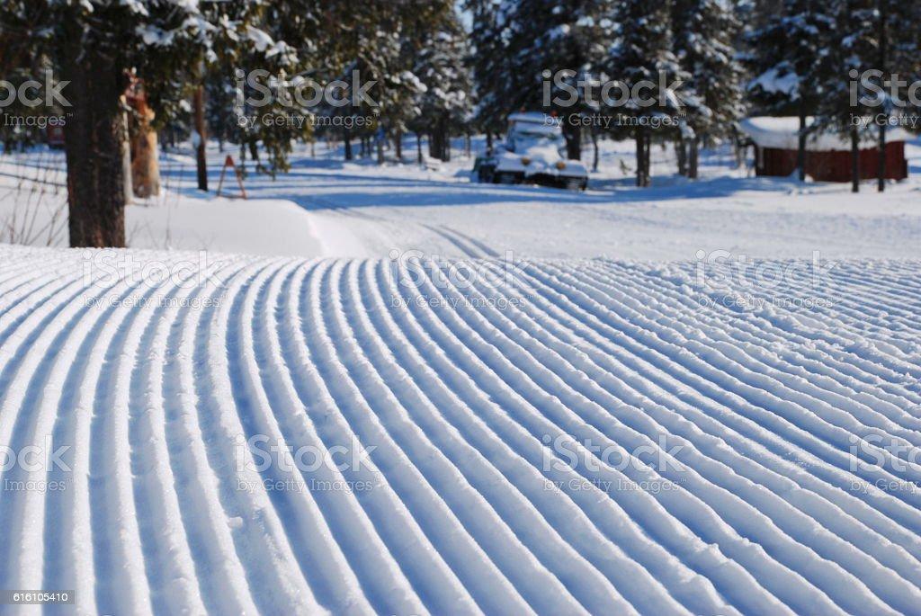 New prepared ski track stock photo