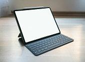 Istanbul, Turkey - March 10, 2019:  The New 12.9 inch Apple iPad pro 2018, empty screen, Apple smart folio keyboard, Apple Pencil editorial content - Image