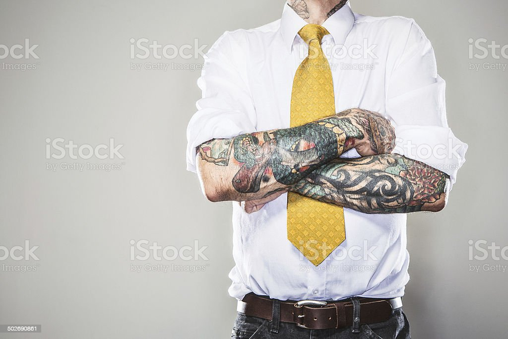 New Professional with Tattoos stock photo