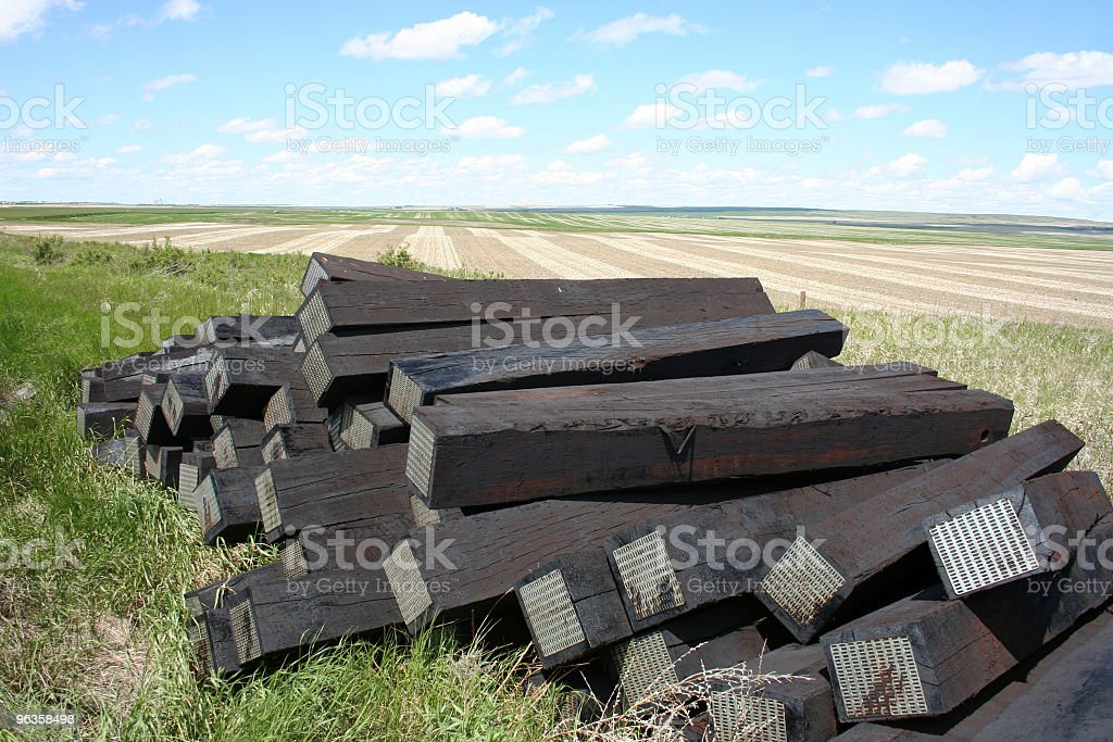 new railroad ties against rural fields royalty-free stock photo