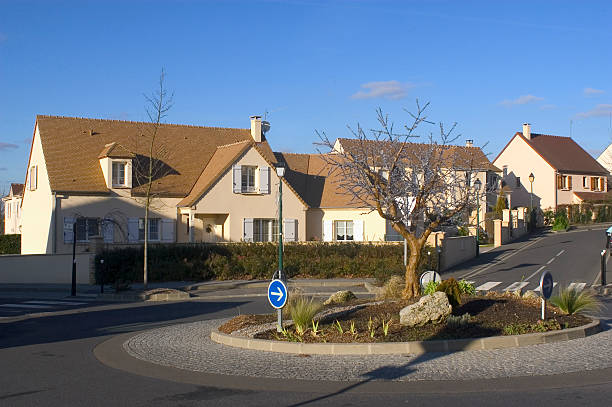 New real estate New real estate in France in the Paris region. Houses in an allotment which has just been finished. ile de france stock pictures, royalty-free photos & images