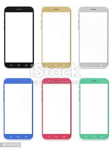 istock New Realistic Mobile Phone Smartphone Collection, Mockups With Blank Screen Isolated on White Background for Printing and Web Element, Game and Application Mockup, 3D Rendering 801818126