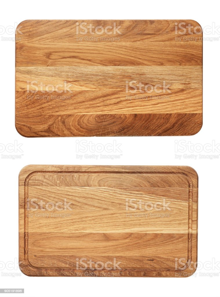 new rectangular wooden cutting board, top view stock photo