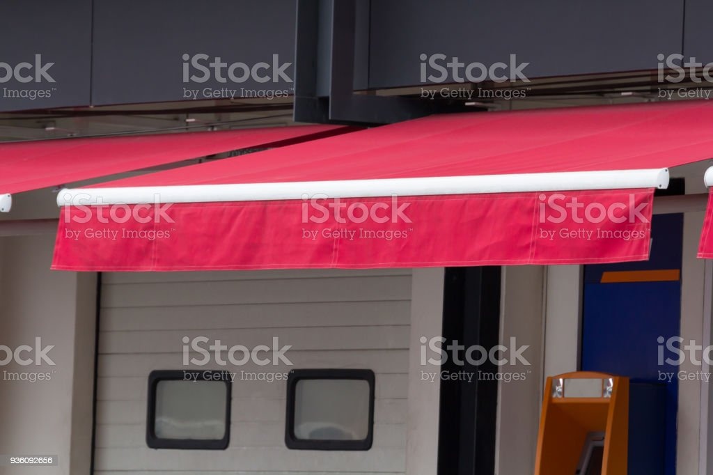 New Red Awning Decoration Canvas In Front Of Store Stock Photo