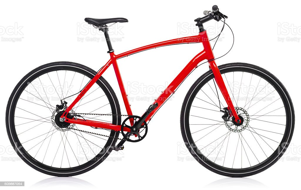 New red bicycle isolated on a white stock photo
