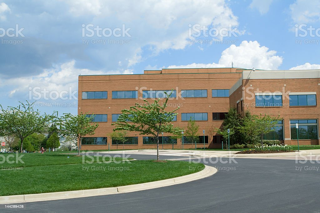 New Red Brick Office Building in Suburban Maryland, United States royalty-free stock photo