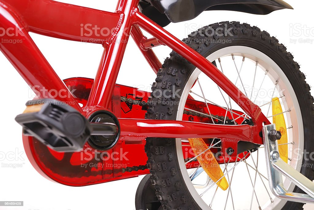New red children's bicycle on white royalty-free stock photo