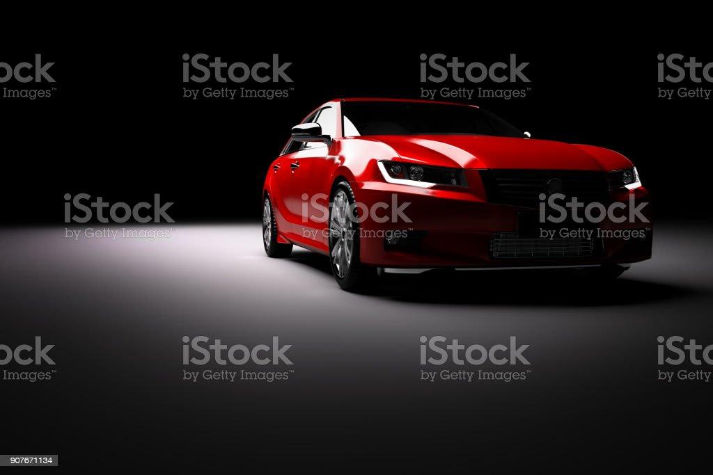 New red metallic sedan car in spotlight. Modern desing, brandless. Modern new red metallic sedan car in spotlight. Generic contemporary desing, brandless. 3D rendering. At The Edge Of Stock Photo
