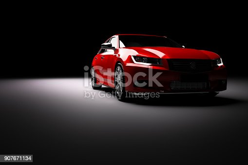 907671144istockphoto New red metallic sedan car in spotlight. Modern desing, brandless. 907671134