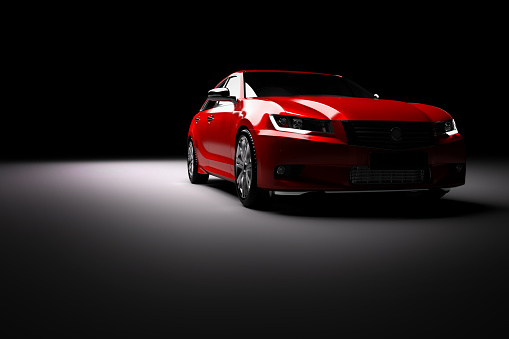 New Red Metallic Sedan Car In Spotlight Modern Desing Brandless Stock Photo - Download Image Now