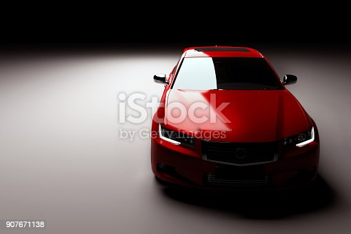 istock New red metallic sedan car in spotlight. Modern desing, brandless. 907671138