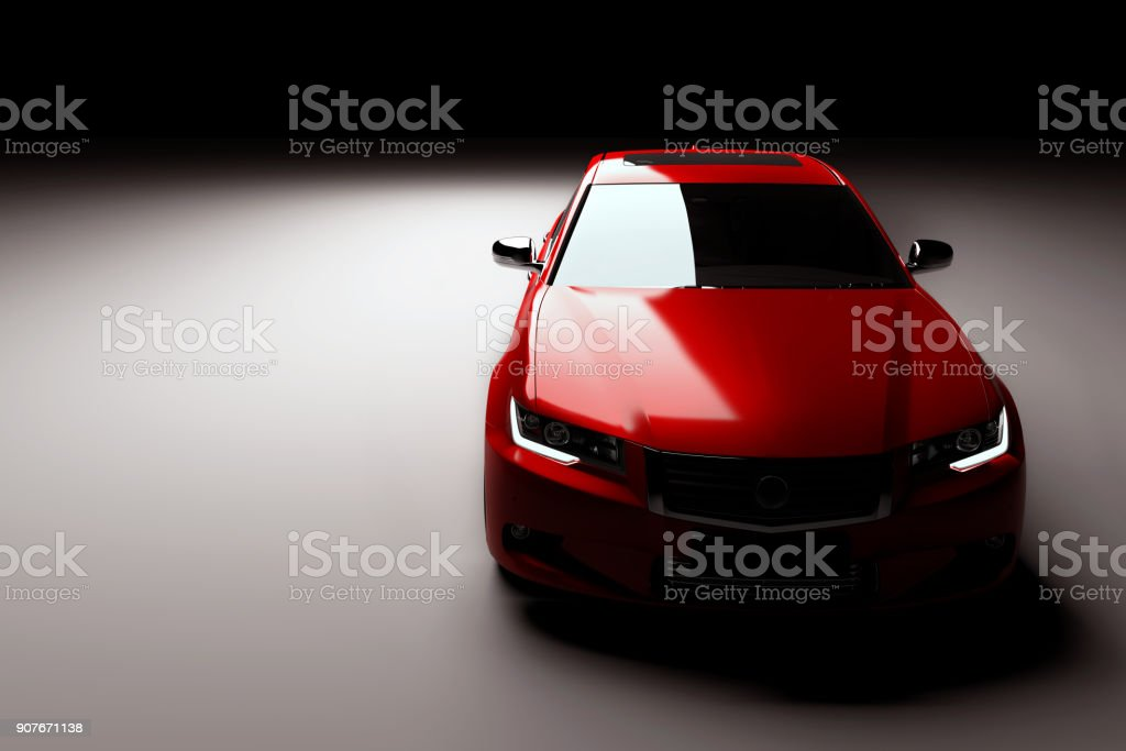New red metallic sedan car in spotlight. Modern desing, brandless. - foto stock