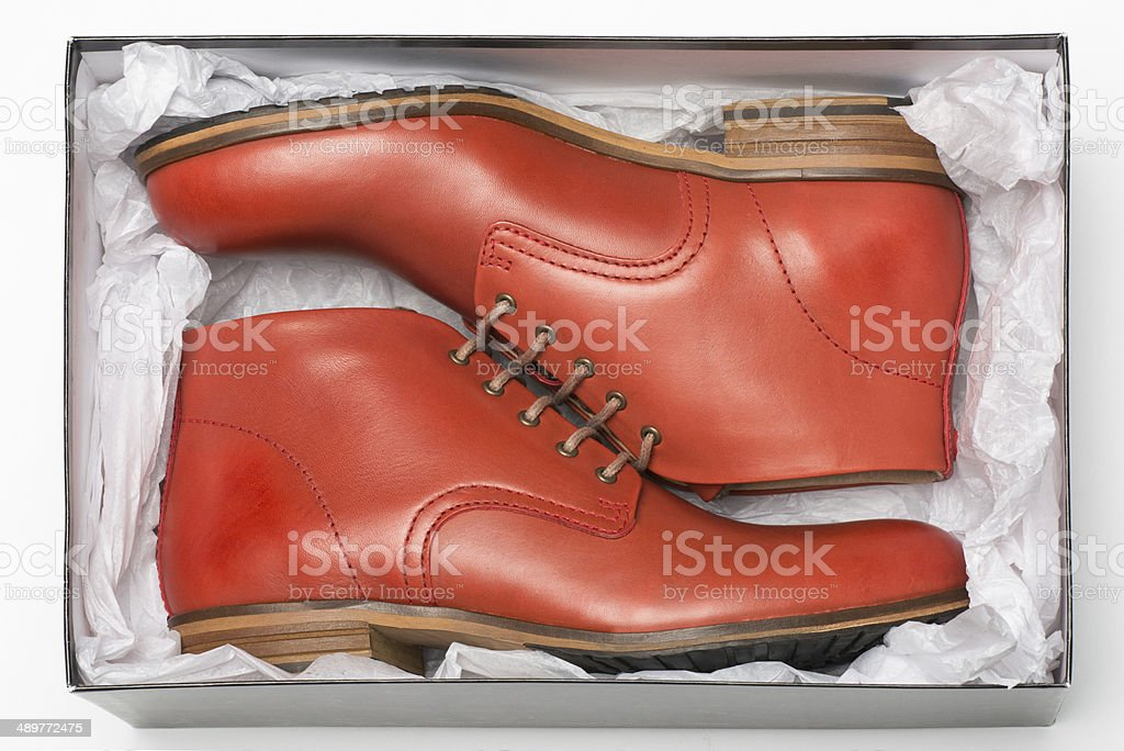 new red shoes in box stock photo