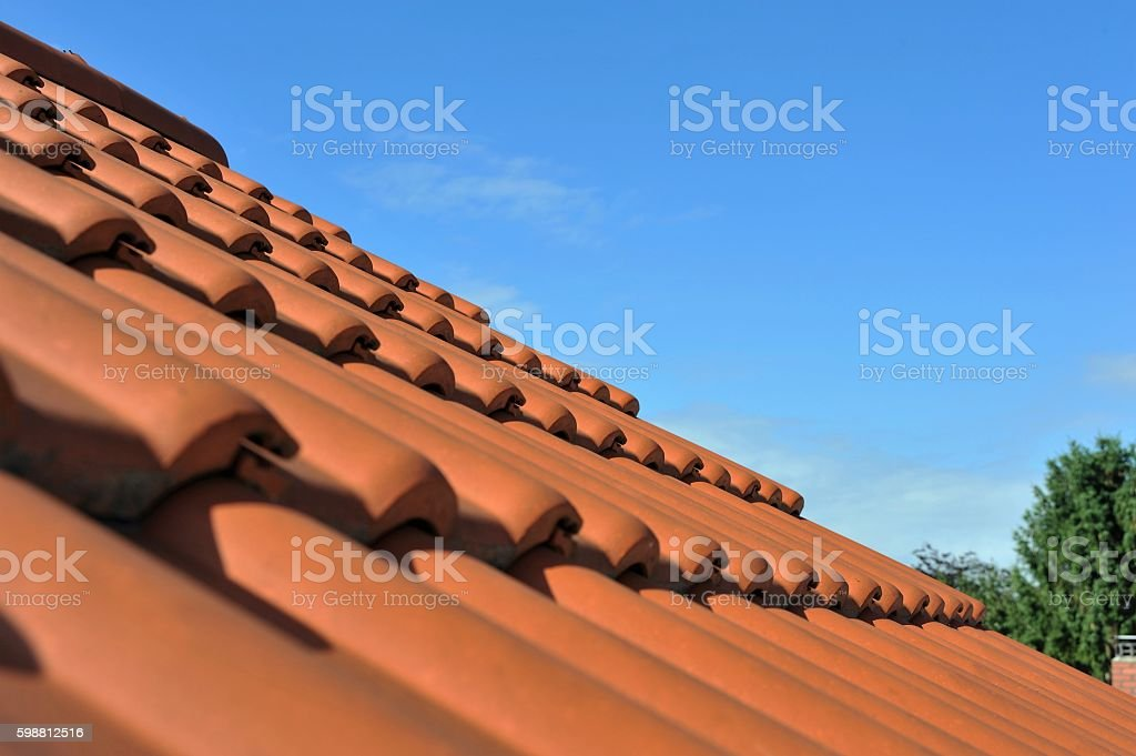 New red tile roof stock photo