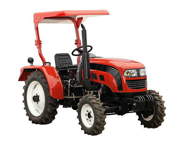 New red tractor isolated over white. With clipping path. stock photo