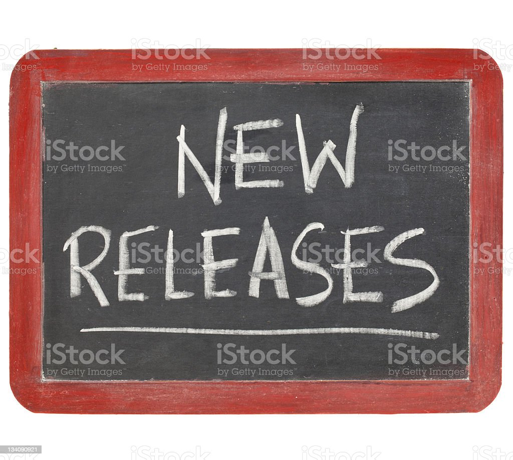 new releases blackboard sign stock photo