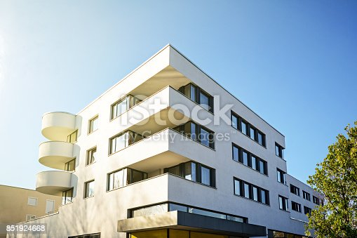 New residential and commercial building with modern facade in the city