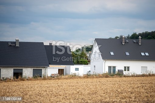 Germany: New construction of residential buildings on the outskirts of a town.