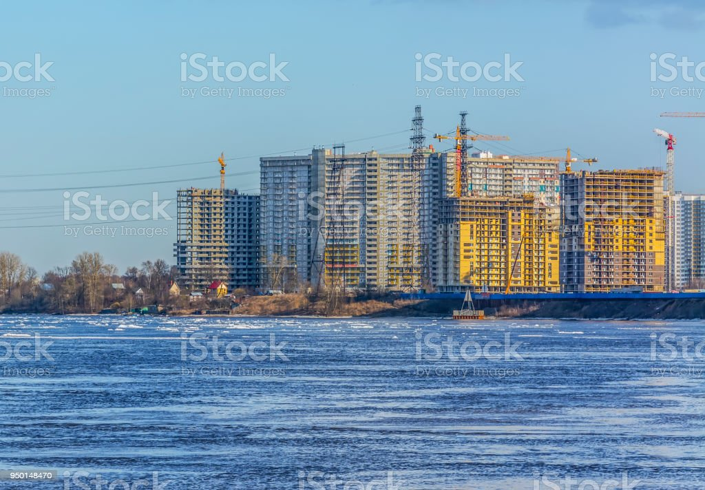 New residential complex on the banks of the Neva river in St. Petersburg. stock photo
