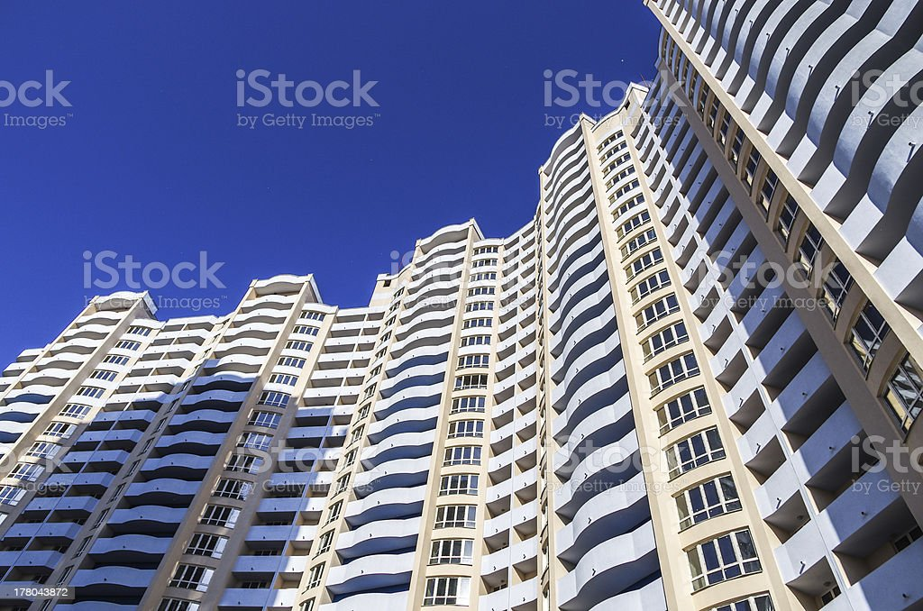 New residential complex with blue sky as a background stock photo