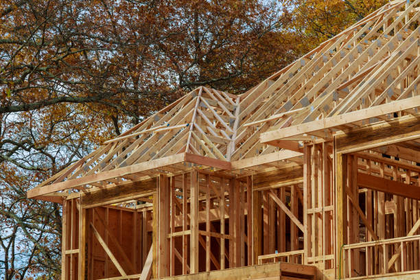 new residential construction home framing against - petticoat stock pictures, royalty-free photos & images