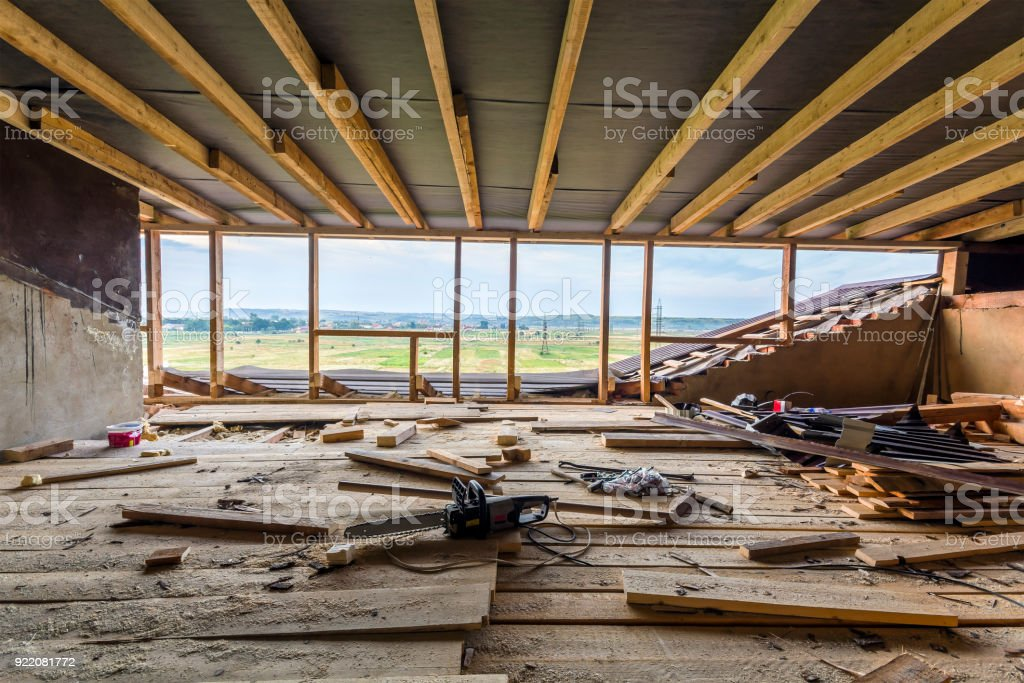 New residential construction home framing. Interior framing of a new house under construction stock photo