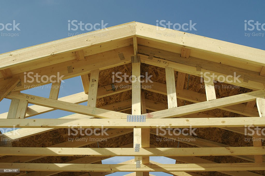 New residential construction home framing. stock photo