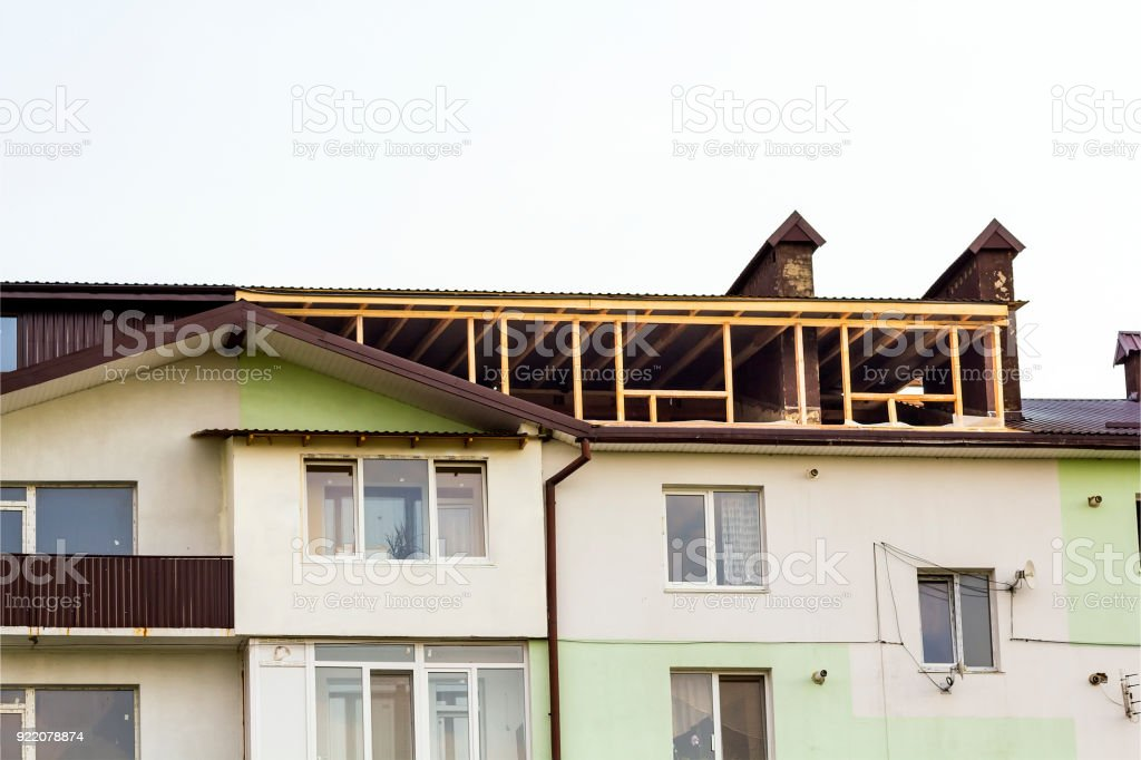 New residential construction home framing. Roofing framing of a new house under construction stock photo