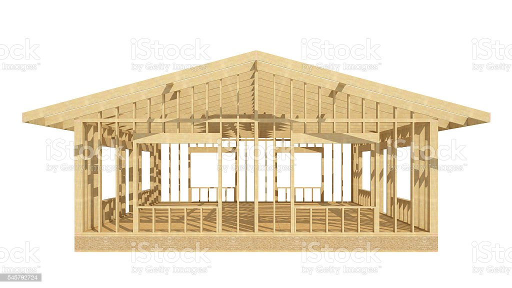 New residential construction home wood framing. stock photo