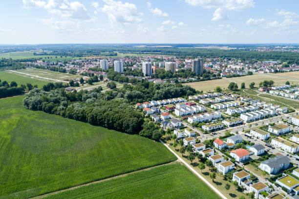New Residential District, Aerial View Aerial view of a new residential district of Wiley, Neu-Ulm, Bavaria, Germany ulm stock pictures, royalty-free photos & images