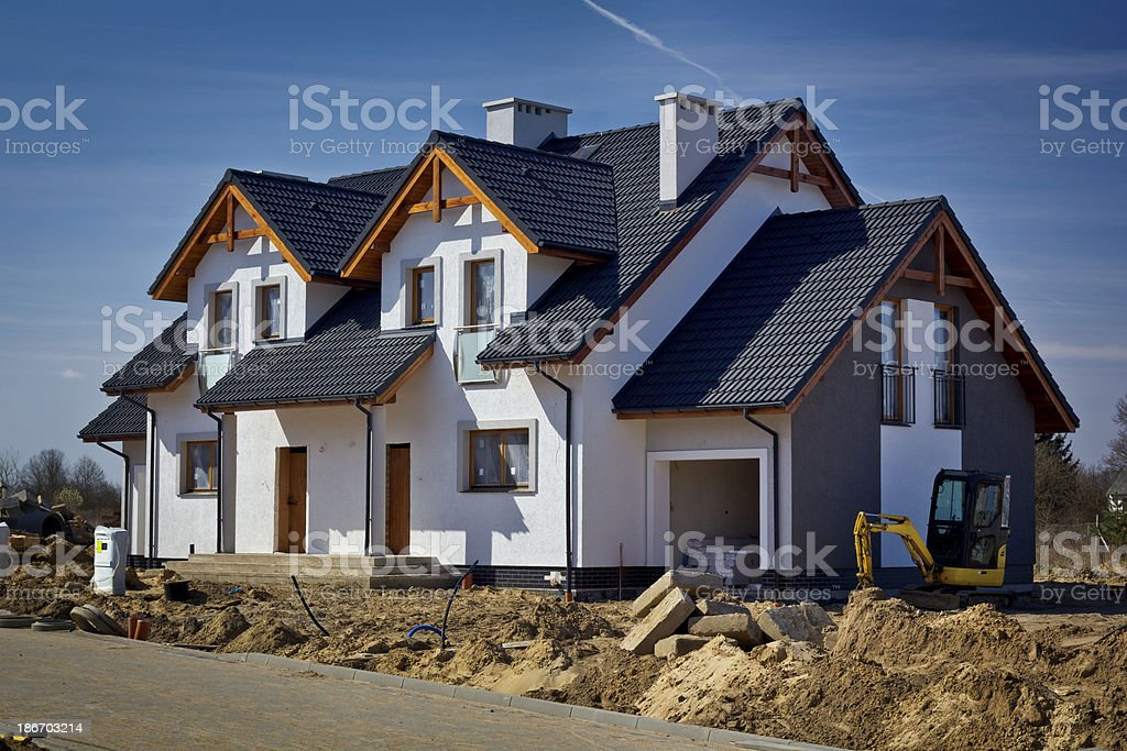 New residential house under construction royalty-free stock photo