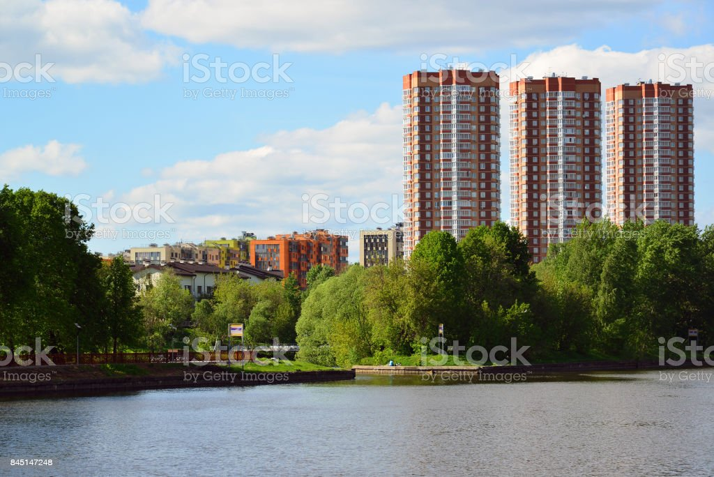 3 new residential houses on banks of Moscow River, Russia stock photo