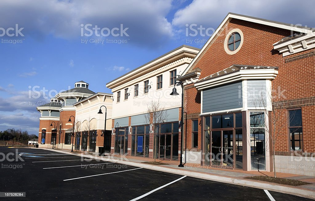 New Retail Strip Mall with Vacancies stock photo