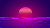 New retro background with sun set over pink wire terrain. Horizontal composition with copy space.