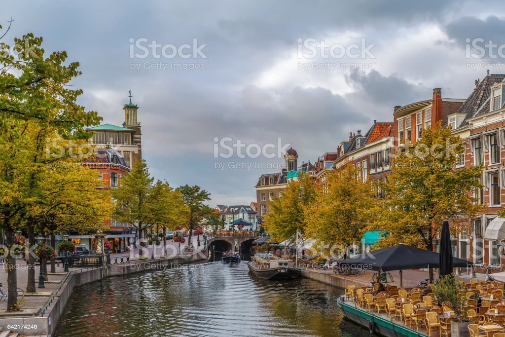 New Rhine river in Leiden downtown, Netherlands stock photo