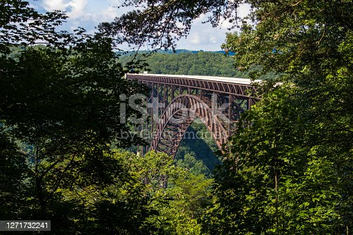 The New River Gorge Bridge scenic overlook at the New RIver Gorge National Park in the Appalachian Mountains of West Virginia.