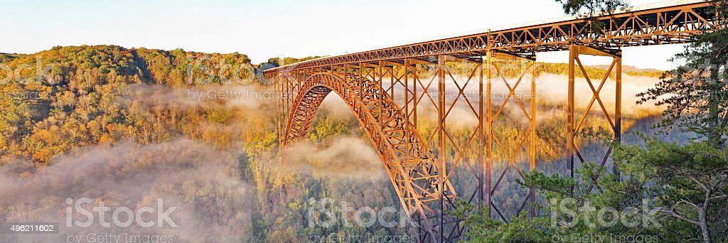 New River Gorge Bridge Morning Fall Panorama stock photo