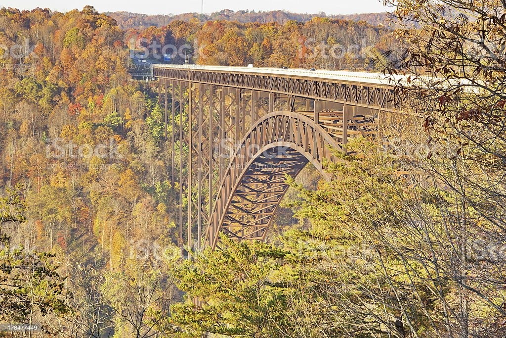New River Gorge Single-Span Arch Bridge in Autumn stock photo