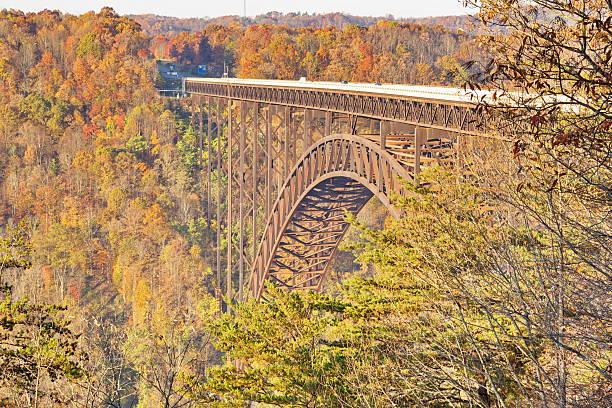 New River Gorge Single-Span Arch Bridge in Autumn stock photo